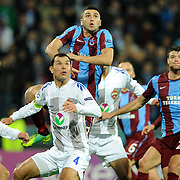 Trabzonspor's Burak YILMAZ (C) and CSKA Moskva's Sergei IGNASHEVICH (2ndL) during their UEFA Champions League group stage matchday 4 soccer match Trabzonspor between CSKA Moskva at the Avni Aker Stadium at Trabzon Turkey on Wednesday, 02 November 2011. Photo by TURKPIX