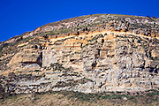 Limestone and sandstone cliffs of the headland at Scarborough, Yorkshire, England