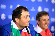 Francesco Molinari (Team Europe) during media interview after the sunday singles at the Ryder Cup, Le Golf National, Paris, France. 30/09/2018.<br /> Picture Phil Inglis / Golffile.ie<br /> <br /> All photo usage must carry mandatory copyright credit (© Golffile | Phil Inglis)