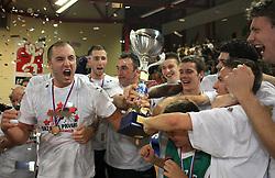 Celebration of Union Olimpija (Marko Milic, Hasan Rizvic, Sasa Doncic, ?, Goran Dragic, Saso Ozbolt, Jan Mocnik, Miha Zupan) after fourth (last) final match of UPC Telemach league and Slovenian  National Championship  between KK Helios Domzale, Domzale and Union Olimpija, Ljubljana, Slovenia, on June 7, 2008, in Komunalni center hall in Domzale. Match was won by Union Olimpija 84:60 and Olimpija became National Champion 2007/2008 fourteen times in history of Slovenia. (Photo by Vid Ponikvar / Sportal Images)