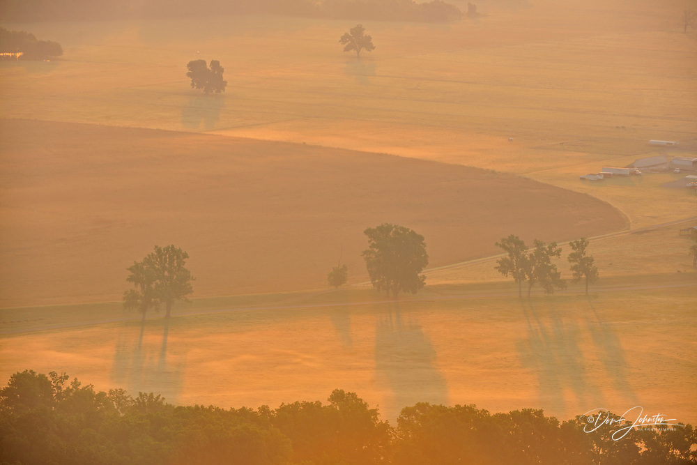 Arkansas River flood plain with morning mists from Petit Jean gravesite, Petit Jean State Park, Morrilton, Arkansas, USA