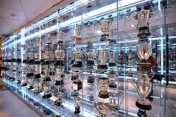 THEMENBILD, ESTADIO SANTIAGO BERNABEU, es ist das Fußballstadion des spanischen Vereins Real Madrid. Es liegt im Zentrum der Stadt Madrid im Viertel Chamartin. Seit der letzten Modernisierung im Jahr 2005 fasst es 80.354 Zuschauer und ist seit 14. November 2007 als UEFA-Elite-Stadion ausgezeichnet, der hoechsten Klassifikation des Europaeischen Fußballverbandes. Das Stadion wurde am 14. Dezember 1947 als Nuevo Estadio Chamartin mit 75.000 Plaetzen offiziell eroeffnet. Am 14. Januar 1955 stimmte die Mitgliederversammlung des Klubs für die Umbenennung des Stadions zu Ehren des damaligen Vereinspraesidenten Santiago Bernabeu, nach dessen Vision die Spielstaette gebaut wurde. Im Bild Vitrine mit Pokale diverser Triumphe von Real Madrid im Museum. Bild aufgenommen am 27.03.2012. EXPA Pictures © 2012, PhotoCredit: EXPA/ Eibner/ Michael Weber..***** ATTENTION - OUT OF GER *****
