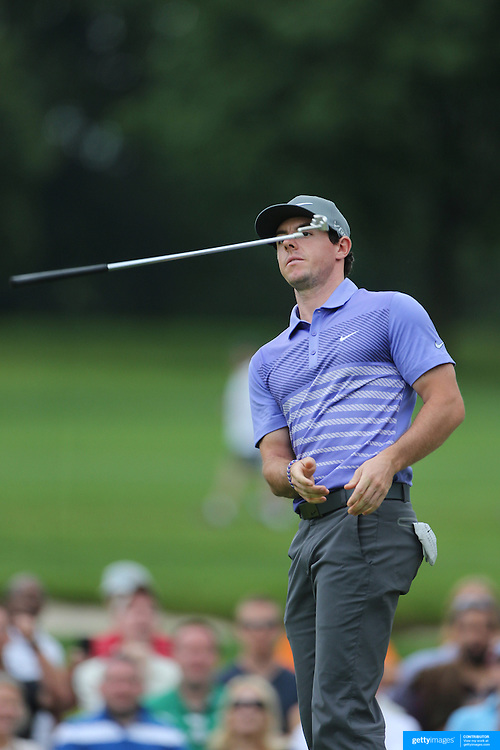 Rory McIlroy tosses and catches his putter after missing a putt on the 15th during the second round of theThe Barclays Golf Tournament at The Ridgewood Country Club, Paramus, New Jersey, USA. 22nd August 2014. Photo Tim Clayton