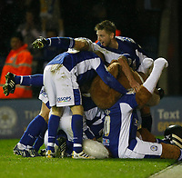 Photo: Steve Bond/Richard Lane Photography. Leicester City v Plymouth Albion. Coca Cola Championship. 21/11/2009. Players pile onto Andy King after his last minute winner