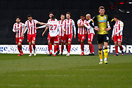 Celebration for Stevenage FC  during the EFL Sky Bet League 2 match between Stevenage and Barrow at the Lamex Stadium, Stevenage, England on 27 March 2021.