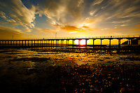Sunrise on the Beach at the Urangan Pier in Hervey Bay on the coast of Queensland in Australia.<br /> <br /> ©2017, Sean Phillips<br /> http://www.RiverwoodPhotography.com