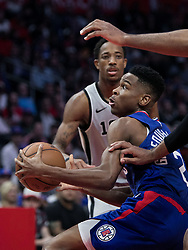 November 15, 2018 - Los Angeles, California, U.S - Shai Gilgeous-Alexander #2 of the Los Angeles Clippers takes tries to drive to the basket during their NBA game with the San Antonio Spurs on Thursday November 15, 2018 at the Staples Center in Los Angeles, California. Clippers defeat Spurs, 116-111. (Credit Image: © Prensa Internacional via ZUMA Wire)