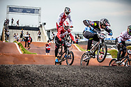 #436 (MIR Amidou) FRA [Royalty, Kenny] at Round 7 of the 2019 UCI BMX Supercross World Cup in Rock Hill, USA