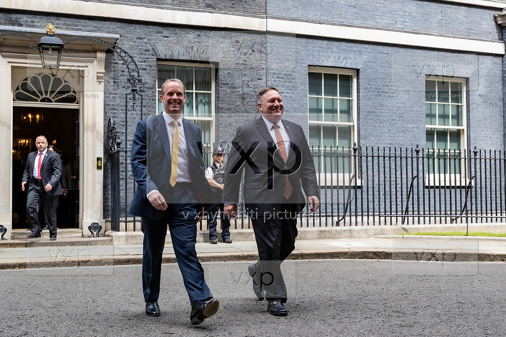 US Secretary of State Mike Pompeo (right in picture) and UK Foreign Secretary Dominic Raab (left in picture) leaves from Number Ten in Downing Street, central London on Tuesday, July 21, 2020 – to continue discussions at the Foreign and Commonwealth Office (FCO) on 'global priorities, including the COVID-19 economic recovery plans, issues related to the People's Republic of China (PRC) and Hong Kong. (VXP Photo/ Vudi Xhymshiti)