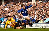 Photo. Jed Wee.<br /> Everton v Blackburn Rovers, FA Barclaycard Premiership, 24/04/2004.<br /> Blackburn's Martin Andresen (L) fouls Everton's Kevin Kilbane.