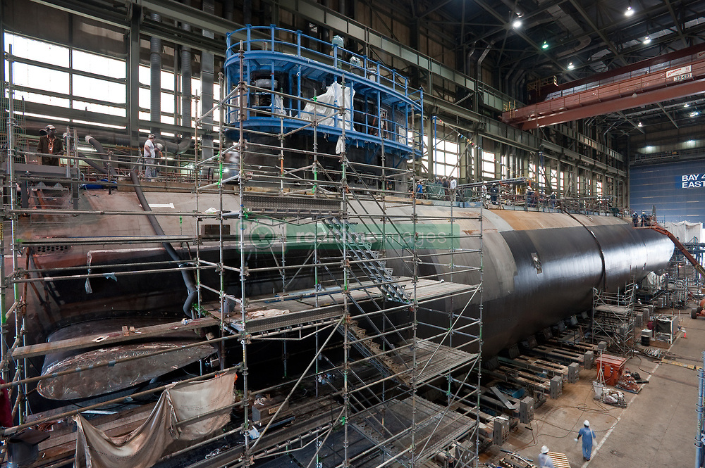 NEWPORT NEWS, Va. (Oct. 5, 2012) The Virginia-class attack submarine Pre-Commissioning Unit (PCU) Minnesota (SSN 783) under construction at Newport News Shipbuilding. The U.S. Navy is reliable, flexible, and ready to respond worldwide on, above, and below the sea. Join the conversation on social media using #warfighting. (U.S. Navy photo by Chris Oxley/Released) 121005-N-ZZ999-002<br /> Join the conversation<br /> http://www.facebook.com/USNavy<br /> http://www.twitter.com/USNavy<br /> http://navylive.dodlive.mil