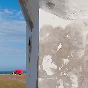 Distant van shot from the side of a lighthouse, Isle of Man.