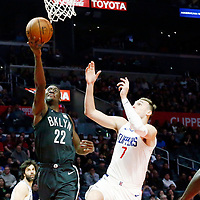 04 March 2018: Brooklyn Nets guard Caris LeVert (22) goes for the layup past LA Clippers forward Sam Dekker (7) during the LA Clippers 123-120 victory over the Brooklyn Nets, at the Staples Center, Los Angeles, California, USA.