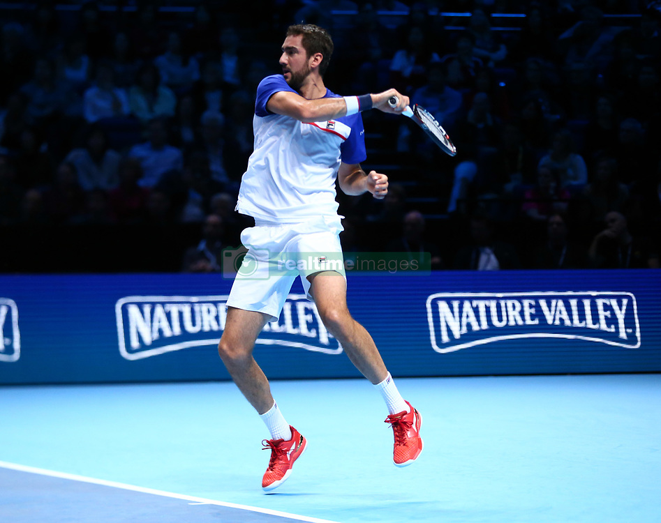 November 16, 2017 - London, England, United Kingdom - Marin Cilic of Croatia against Roger Federer of Switzerland.during Day five of the Nitto ATP World Tour  Finals played at The O2 Arena, London on November 16 2017  (Credit Image: © Kieran Galvin/NurPhoto via ZUMA Press)