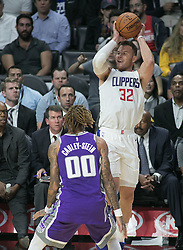October 12, 2017 - Los Angeles, California, U.S - Blake Griffin #32 of the Los Angeles Clippers takes a shot during their preseason game against the Sacramento Kings Thursday October 12, 2017 at the Galen Center in USC in Los Angeles, California. Clippers defeat Kings, 104-87. (Credit Image: © Prensa Internacional via ZUMA Wire)