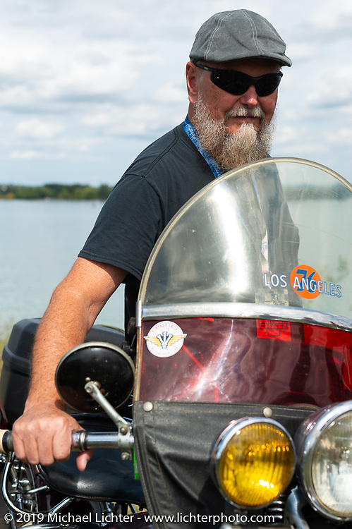 Brent Mayfield of Ohio with his restored 1945 Harley-Davidson EL Knucklehead lined up for the panorama portrait in Aune Osborne Park in Sault Sainte Marie, the site of the official start of the Cross Country Chase motorcycle endurance run from Sault Sainte Marie, MI to Key West, FL. (for vintage bikes from 1930-1948). Thursday, September 5, 2019. Photography ©2019 Michael Lichter.