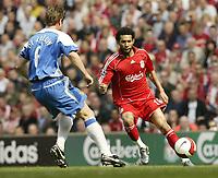 Photo: Aidan Ellis.<br /> Liverpool v Wigan Athletic. The Barclays Premiership. 21/04/2007.<br /> Liverpool's Jermain Pennant looks to take on Wigan's Arjun De Zeeuw