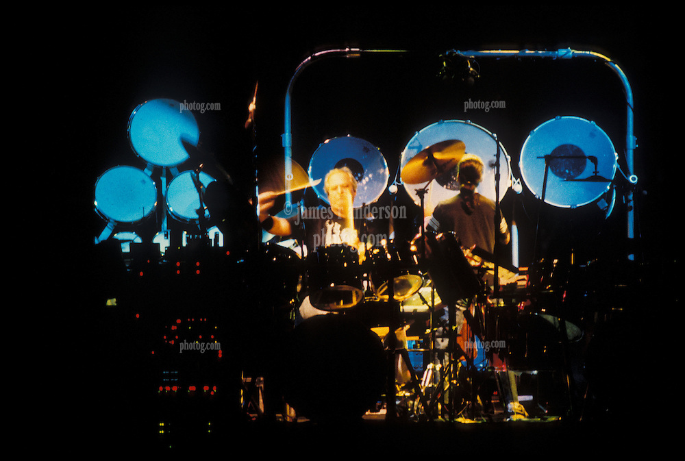 The Grateful Dead's Bill Kreutzmann and Mickey Hart during the Drums Break at the Nassau Coliseum, Uniondale NY, 29 March 1990