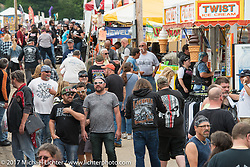 The vendor alley at the Laconia Roadhouse in Weirs Beach was packed during Laconia Motorcycle Week, New Hampshire, USA. Saturday June 17, 2017. Photography ©2017 Michael Lichter.