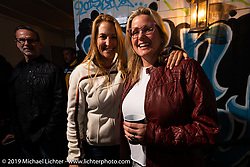 Sisters Mandy and Shelly Rossmeyer of Destination Daytona at their Main Street party during Daytona Bike Week. Daytona Beach, FL. USA. Wednesday March 14, 2018. Photography ©2018 Michael Lichter.