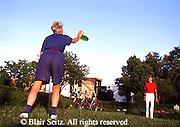 Active Aging Senior Citizens, Retired, Activities, Elderly Couple Outdoor Recreation, Staying Fit, Enjoying Nature Elderly Couple Toss Frisbee