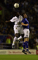 Photo: Greig Cowie.<br /> 15/09/2003.<br /> Barclaycard Premiership. Leicester City v Leeds United, The Walkers Stadium.<br /> Lamine Sakho and Muzzy Izzet