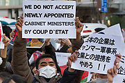 Thousands of Japanese and Myanmar nationals protest outside the Japanese Foreign Ministry in Tokyo calling for the Japanese government to take action over the recent coup in Myanmar. Kasumigaseki, Tokyo, Japan. Wednesday February 3rd 2021, Many of the protesters held flags of Aung San Suu Kyi's National League for Democracy (NLD), along with portraits of the the detained leader herself and former President, Win Myint.