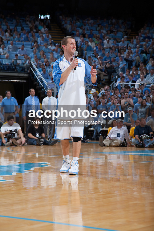 08 March 2009: North Carolina Tar Heels guard J.B. Tanner (15) delivers his senior speech after a 79-71 win over the Duke Blue Devils at the Dean Smith Center in Chapel Hill, NC.