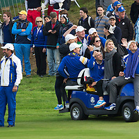 Ryder Cup, Gleneagles, Perthshire...<br /> Ian Poulter takes a selfie with Martin Kaymer, Justin Rose, Sergio Garcia and Stephen Gallacher<br /> Picture by Graeme Hart.<br /> Copyright Perthshire Picture Agency