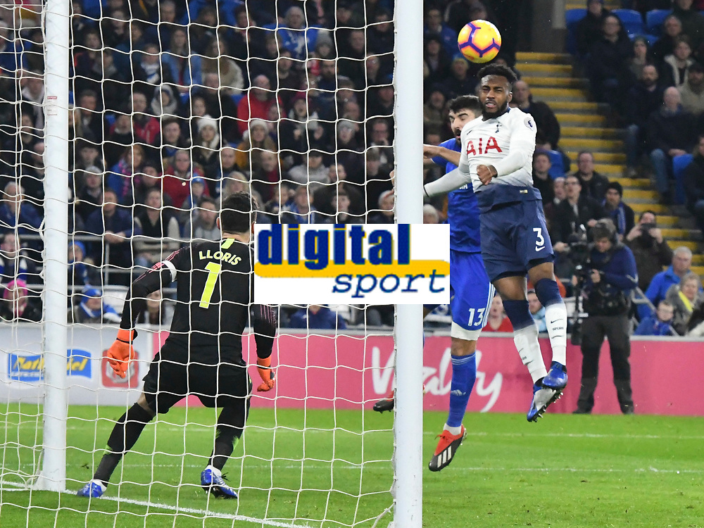 Football - 2018 / 2019 Premier League - Cardiff City vs Tottenham Hotspur<br /> <br /> Danny Rose of Spurs beats Callum Paterson Cardiff City to clear with a header    .. at the Cardiff City Stadium<br /> <br /> Credit:: COLORSPORT/WINSTON BYNORTH