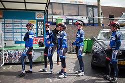 Team WNT riders line up for the sign-on before the Omloop van Borsele - a 107.1 km road race, starting and finishing in s'-Heerenhoek on April 22, 2017, in Borsele, the Netherlands.