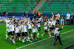 LJUBLJANA, SLOVENIA - JUNE 06: Players of Germany celebrate with their fans following victory in the 2021 UEFA European Under-21 Championship Final match between Germany and Portugal at Stadion Stozice on June 06, 2021 in Ljubljana, Slovenia.  Photo by Grega Valancic / Sportida