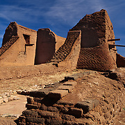 Seventeenth century Spanish colonial mission lies in picturesque ruins in Pecos National Historic Park near Santa Fe, NM.