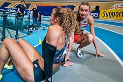 Lieke Klaver, Femke Bol after the 400 meter during AA Drink Dutch Athletics Championship Indoor on 21 February 2021 in Apeldoorn.