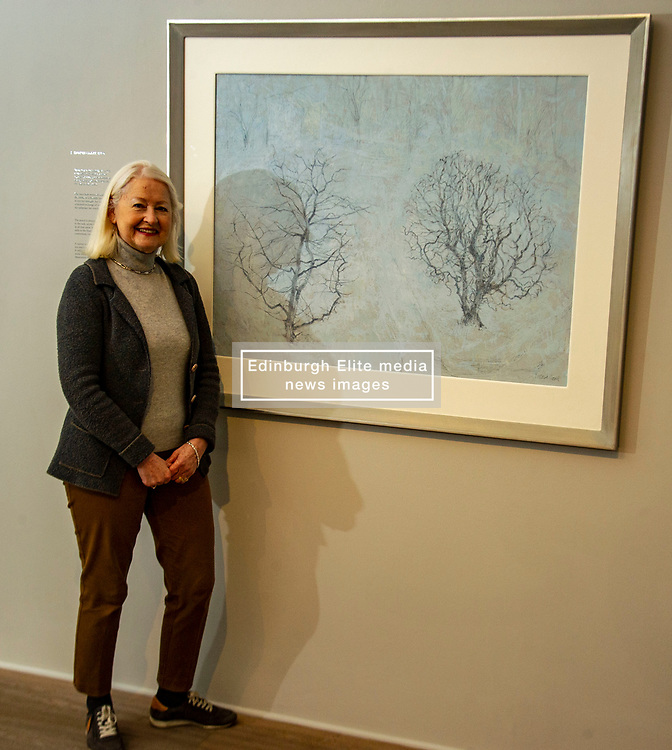 Pictured: Christine De Luca in front of Garden Full of Snow<br /><br />Another Time, Another Place at The Scottish Gallery - an exhibition of works by renowned artist Victoria Crowe OBE which have inspired 12 poems by poet Christine De Luca<br /><br />Ger Harley | EEm 29 April 2021