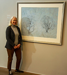 Pictured: Christine De Luca in front of Garden Full of Snow<br /><br />Another Time, Another Place at The Scottish Gallery - an exhibition of works by renowned artist Victoria Crowe OBE which have inspired 12 poems by poet Christine De Luca<br /><br />Ger Harley   EEm 29 April 2021