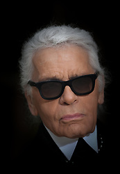 German designer Karl Lagerfeld appears on the catwalk after the presentation of his Haute-Couture collection for Chanel as part of the Spring-Summer 2013 Paris Fashion Week, at Grand Palais in Paris, France, on January 22, 2013. Photo by Thierry Orban/ABACAPRESS.COM