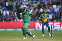 Pakistan's Sarfraz Ahmed in action during the ICC Champions Trophy, Group B match at Cardiff Wales Stadium.