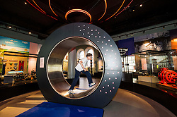 Pictured: Edward Boyle (13) tries to light up the energy wheel<br /> <br /> The National Museum of Scotland will launch ten new galleries on 8 July following a £14.1 million redevelopment in their 150th year.  <br /> <br /> Ger Harley   EEm 5 July 2016