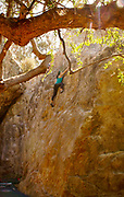 Indian Rock, Berkeley, CA, rock wall climbing without ropes and safety gear.