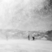 Snow and wind combine to create a eery look at the top of Mammoth Mountain.