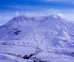 Mt. St. Helens in Winter from Johnston Ridge, Mt. St. Helens National Volcanic Monument, Washington, US