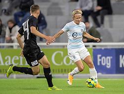 Carl Lange (FC Helsingør) udfordrer Anders Bærtelsen. (Vendsyssel FF) under kampen i 1. Division mellem FC Helsingør og Vendsyssel FF den 18. september 2020 på Helsingør Stadion (Foto: Claus Birch).