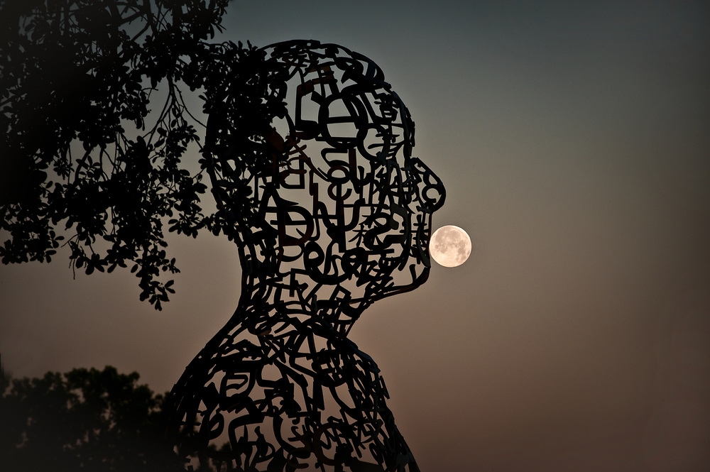 """Tolerance"" sculpture by Spanish artist Jaume Plensa, Buffalo Bayou Park, Houston, Texas"
