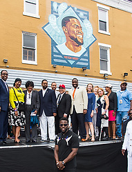 Kevin Hart is honored with 'Kevin Hart Day' birthday celebration and mural dedication by Mural Arts Philadelphia. The event was held outside of Max's Steaks in North Philadelphia, Pennsylvania where he grew up. 06 Jul 2017 Pictured: Kevin Hart. Photo credit: MEGA TheMegaAgency.com +1 888 505 6342