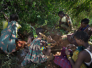 Women collecting tubers, a staple food of the Hadza. At the Hadza camp of Dedauko.