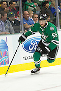 DALLAS, TX - NOVEMBER 1:  Sergei Gonchar #55 of the Dallas Stars controls the puck against the Colorado Avalanche on November 1, 2013 at the American Airlines Center in Dallas, Texas.  (Photo by Cooper Neill/Getty Images) *** Local Caption *** Sergei Gonchar