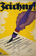World War I 1914-1918. Poster showing a hand holding a pen and signing a War Bond certificate. German poster, 1918.