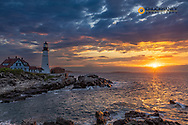 Sunrise at Portland Head Lighthouse in Portland, Maine, USA