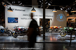 """BMW's special custom display titled """"Hats of to the Kustomizers, We're Honored"""" stand in the custom themed Hall 10 at the Intermot Motorcycle Trade Fair. Cologne, Germany. Thursday October 6, 2016. Photography ©2016 Michael Lichter."""